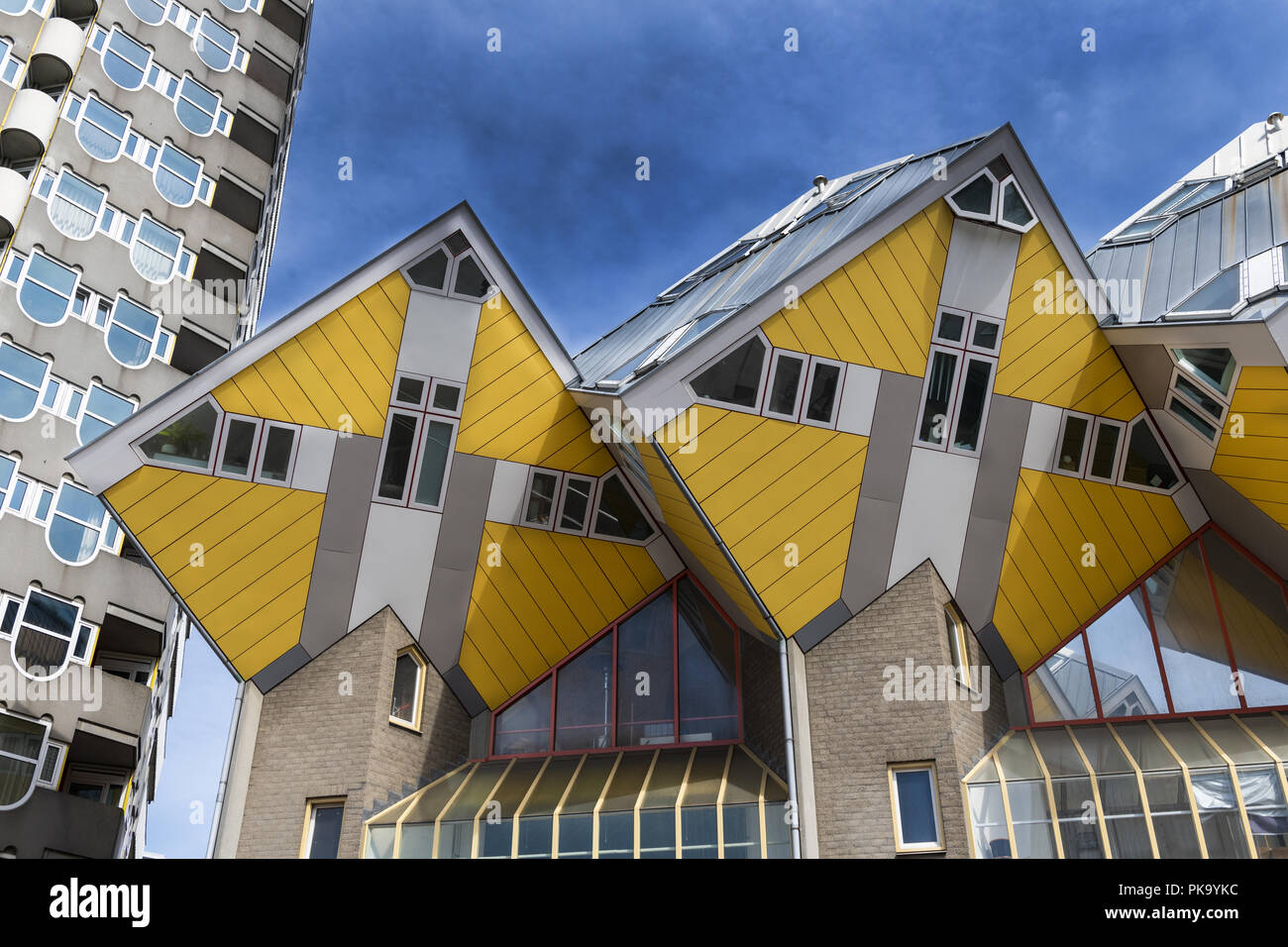 """Innovative houses built in Rotterdam in the Netherlands, designed by architect Piet Blom and based on the concept of """"living as an urban roof Stock Photo"""