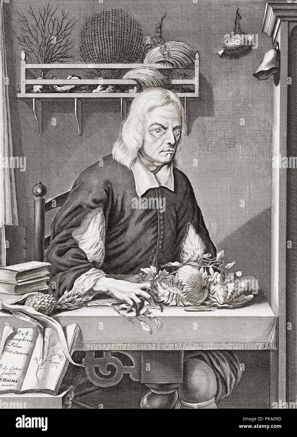 Georg Eberhard Rumphius, 1627 – 1702. German-born botanist employed by the Dutch East India Company.  Author of Herbarium Amboinense. After a portrait by his son Paul Augustus Rumphius. - Stock Image