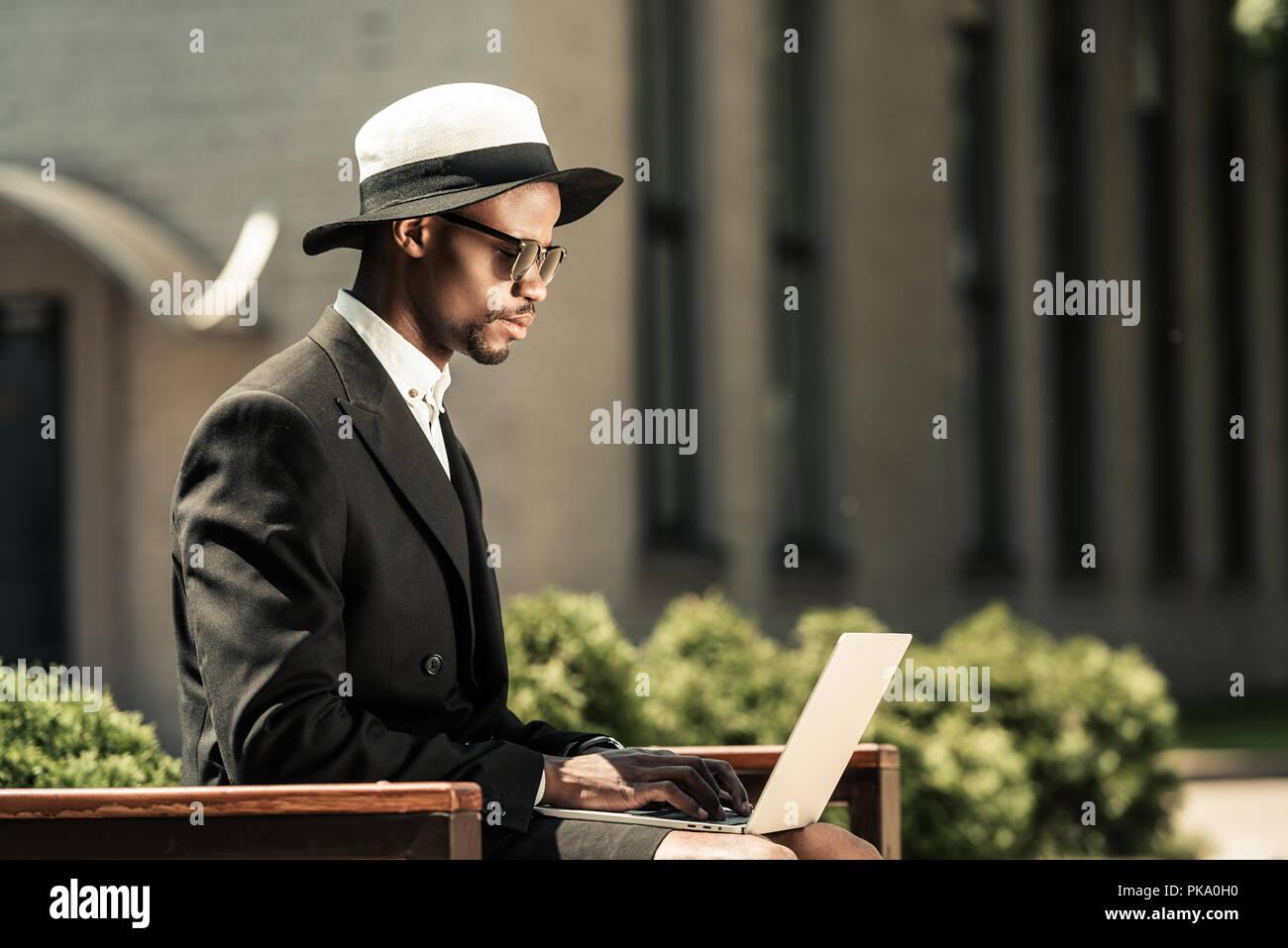 Man Wearing Fedora African American Stock Photos & Man