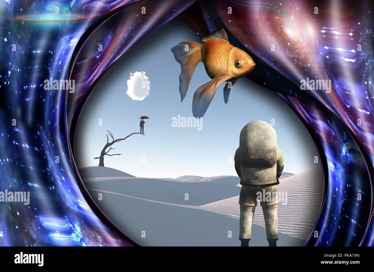 Surrealism. White desert. Man with red umbrella stands on a dry tree. Astronaut. Warped space. Golden fish. - Stock Image