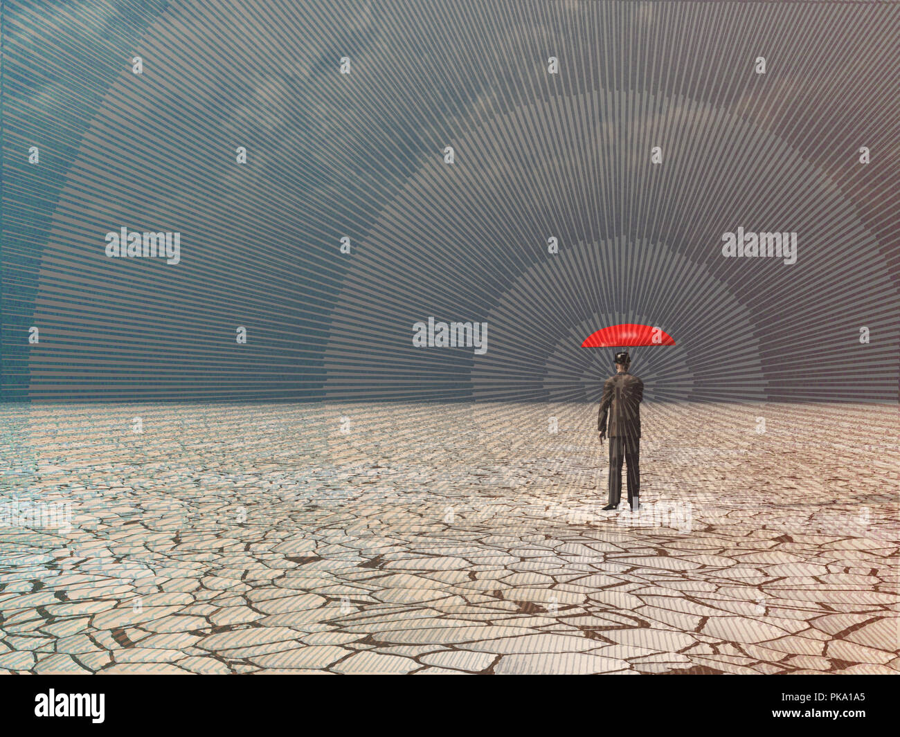 Surreal digital art. Man with red umbrella in dry land under gathering storm. - Stock Image