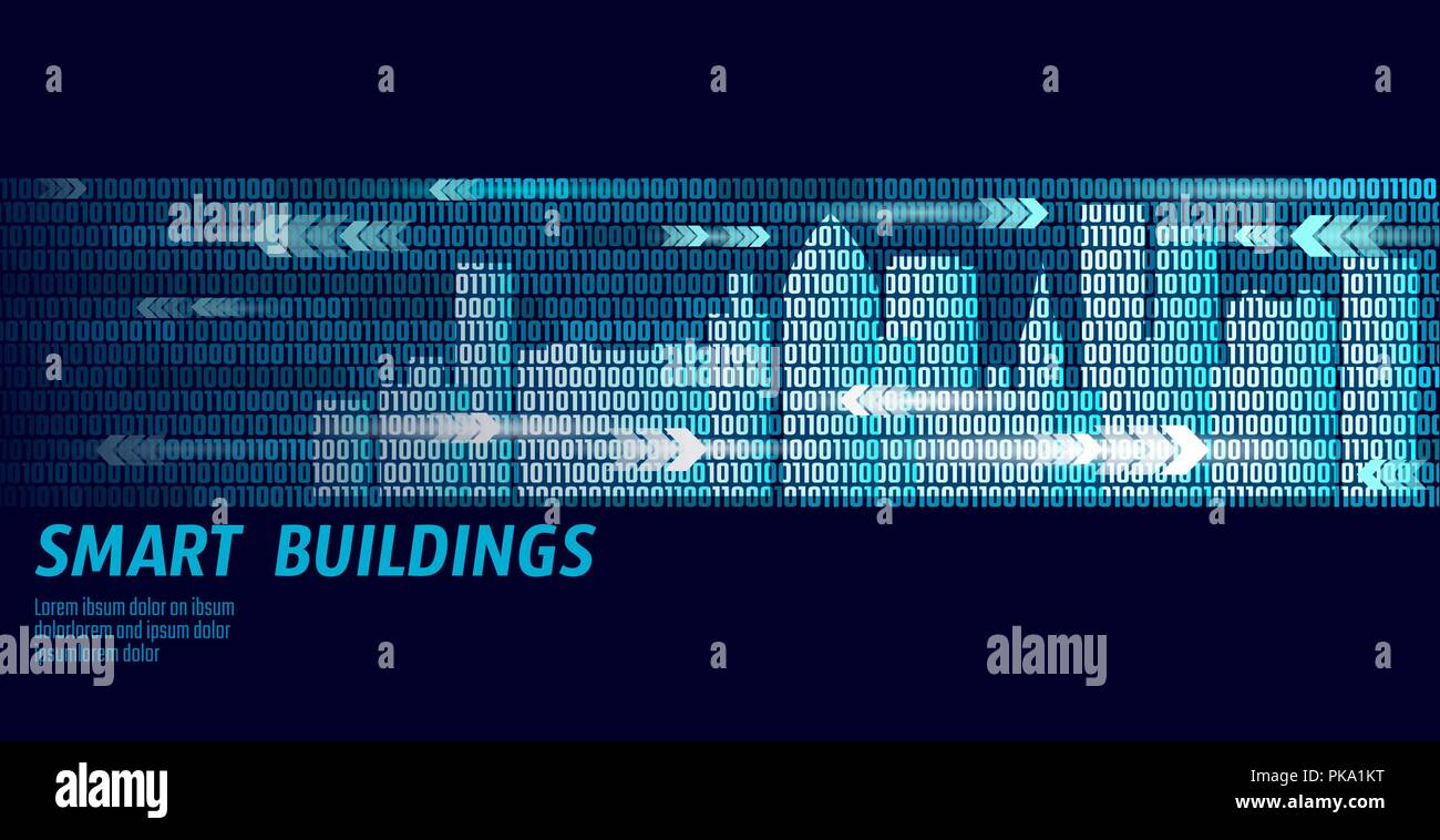 Smart city intelligent building automation system business concept. Binary code number data flow. Architecture urban cityscape technology sketch banner vector illustration - Stock Vector