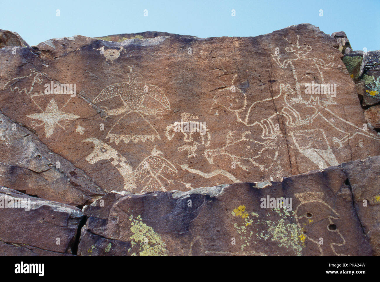 Thunderbird, plumed serpent and other Native American petroglyphs near Galisteo, New Mexico. Photograph - Stock Image