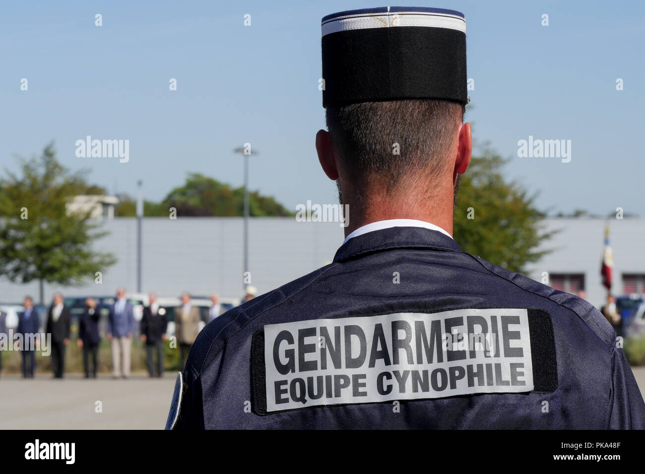 Police Dog Serviceman from french National Gendarmery takes part in a military ceremony, Sathonay-Camp, France - Stock Image