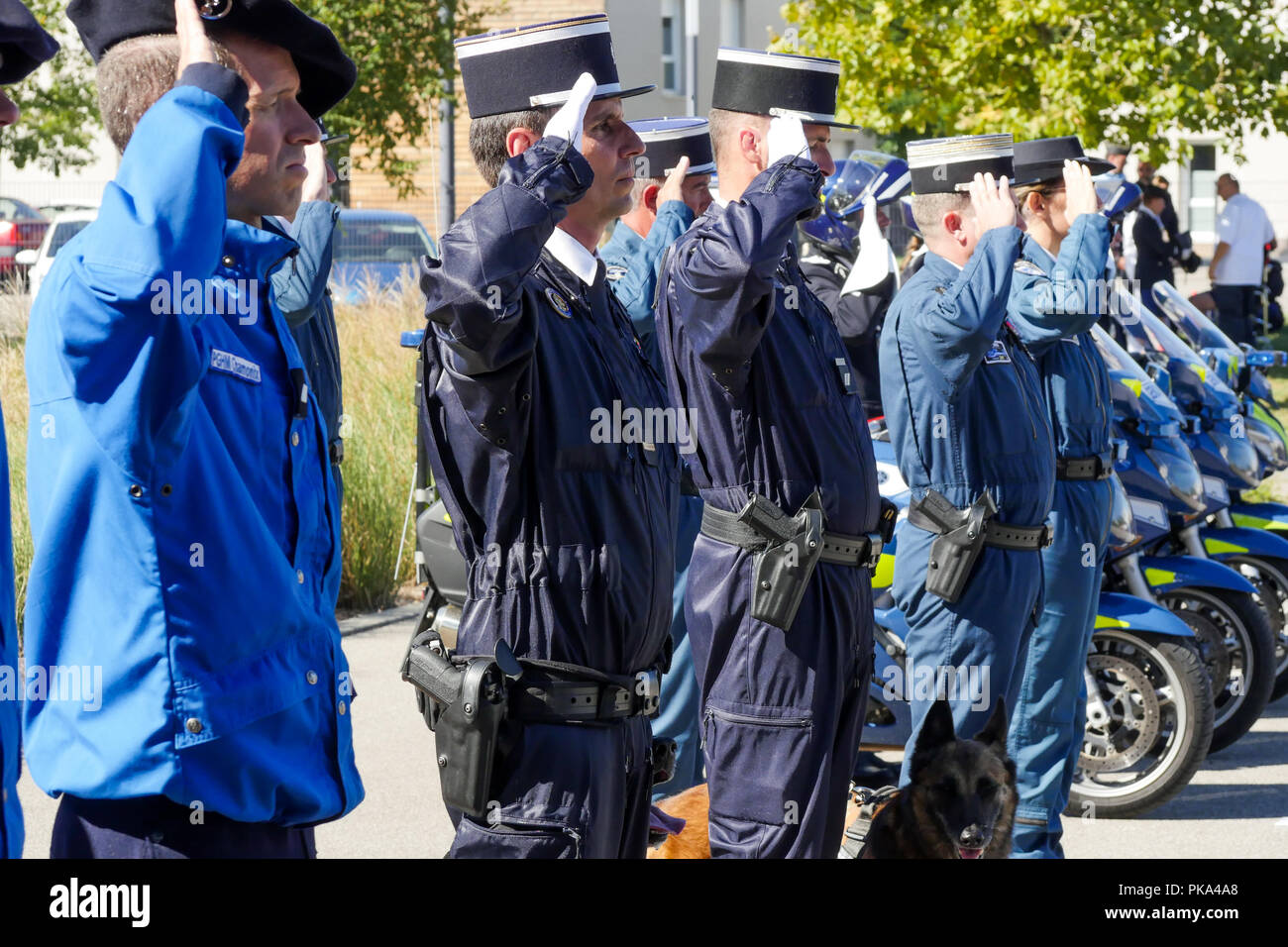 French Gendarmes attend official military ceremony, Sathonay-Camp, France - Stock Image