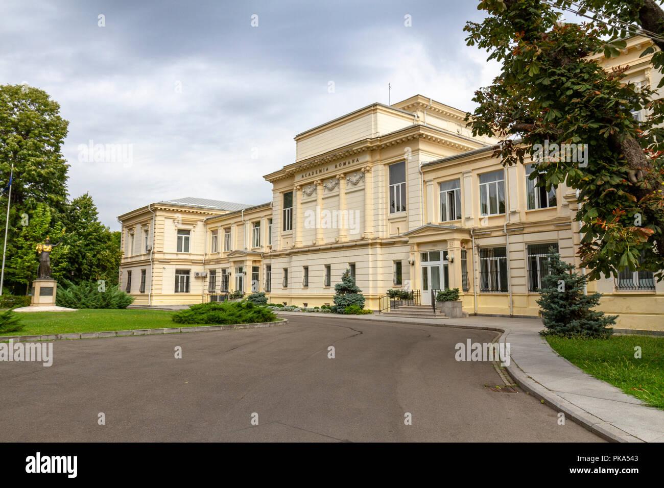 The Romanian Academy (Academia Română) is a cultural forum  on Calea Victoriei in Bucharest, Romania. - Stock Image