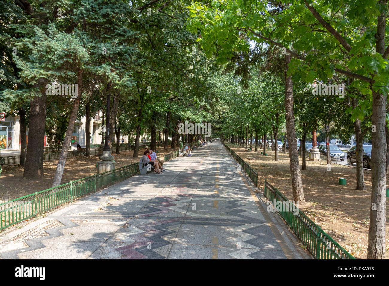 Path along Bulevardul Unirii (Union Boulevard) in Bucharest, Romania. Stock Photo