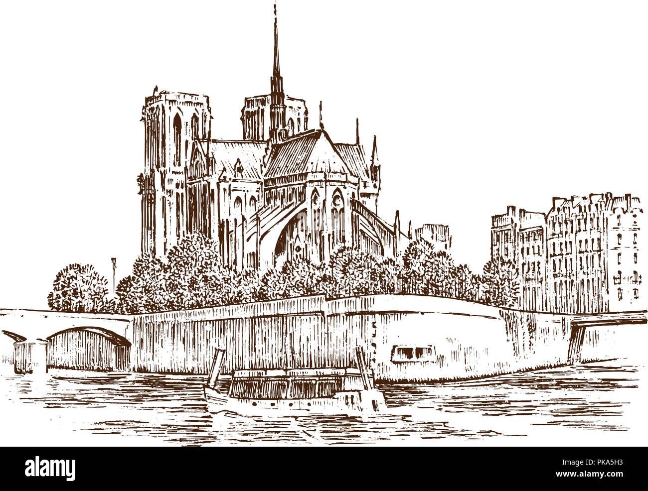 Notre Dame De Paris Disegno.Historical Architecture With Buildings Perspective View Vintage