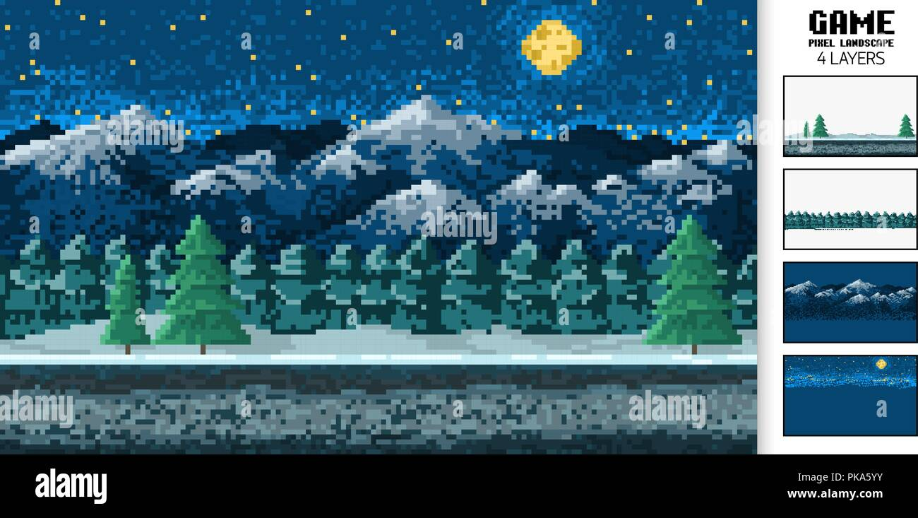 landscape background, pixel art, digital vintage 8-bit game