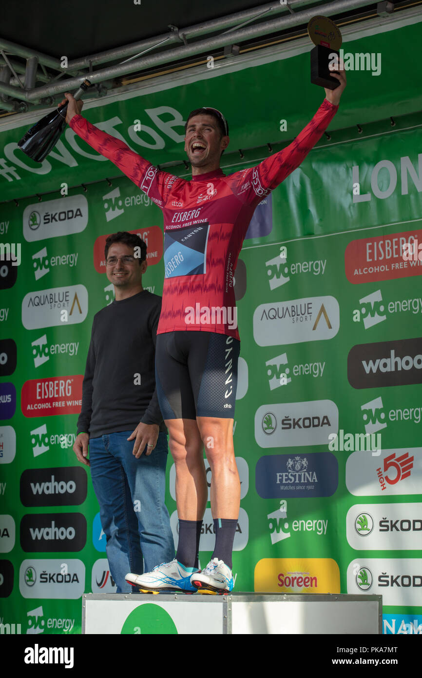OVO Energy Tour of Britain 2018,English rider Alex Paton, Canyon Eisberg  team, overall winner of the Eisberg sprints classification in central London - Stock Image