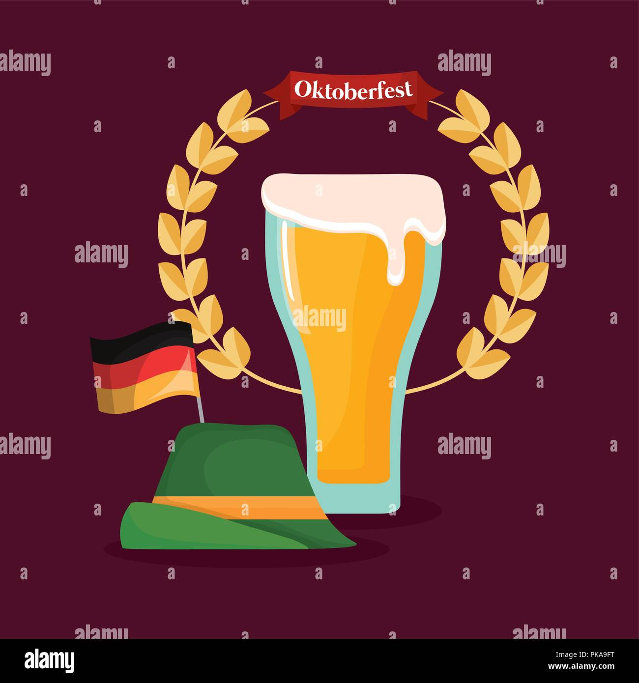 oktoberfest label with beer jar vector illustration design - Stock Image