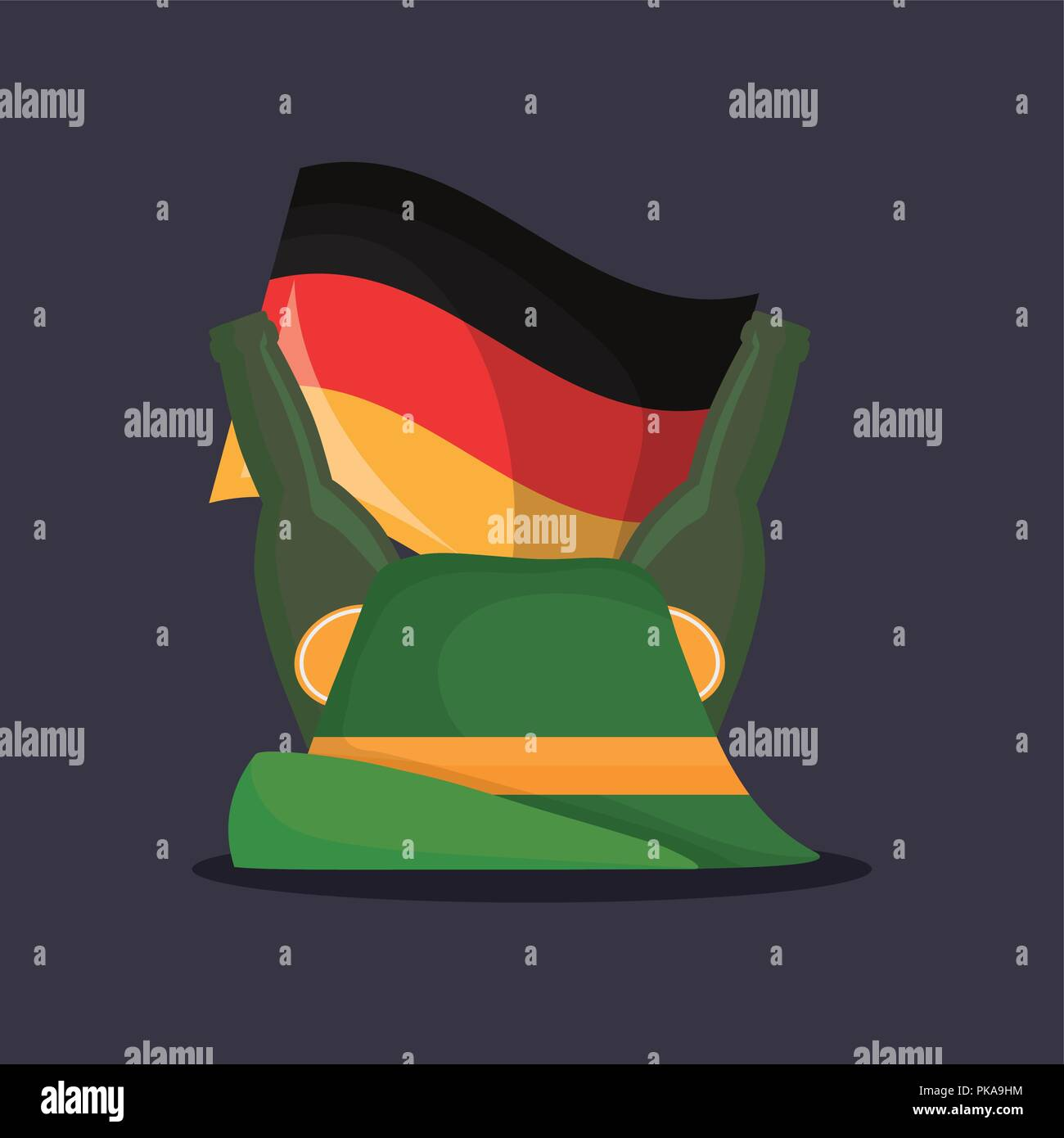 traditional german hat with germany flag vector illustration design - Stock Image