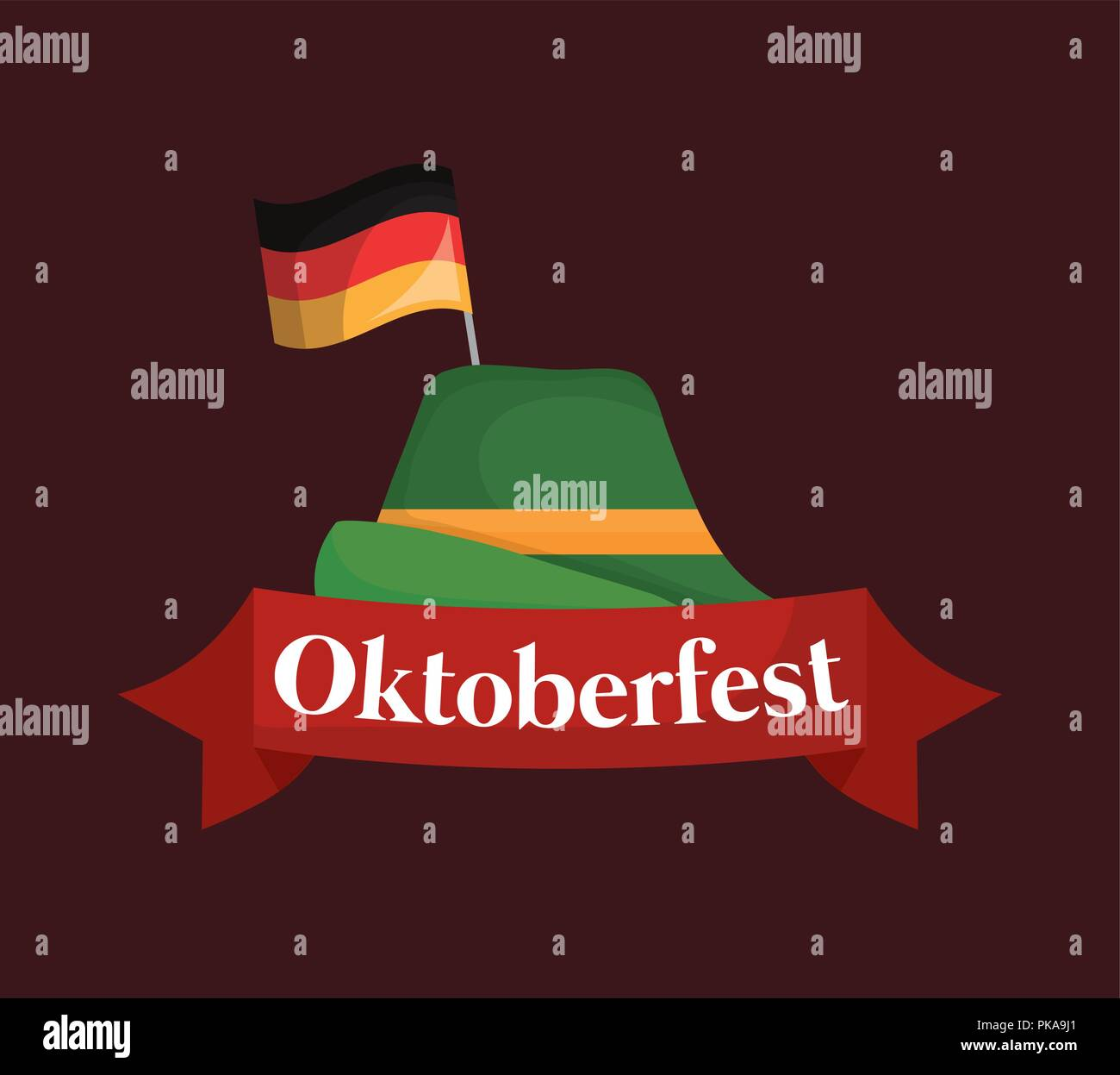 oktoberfest label with german hat vector illustration design - Stock Image