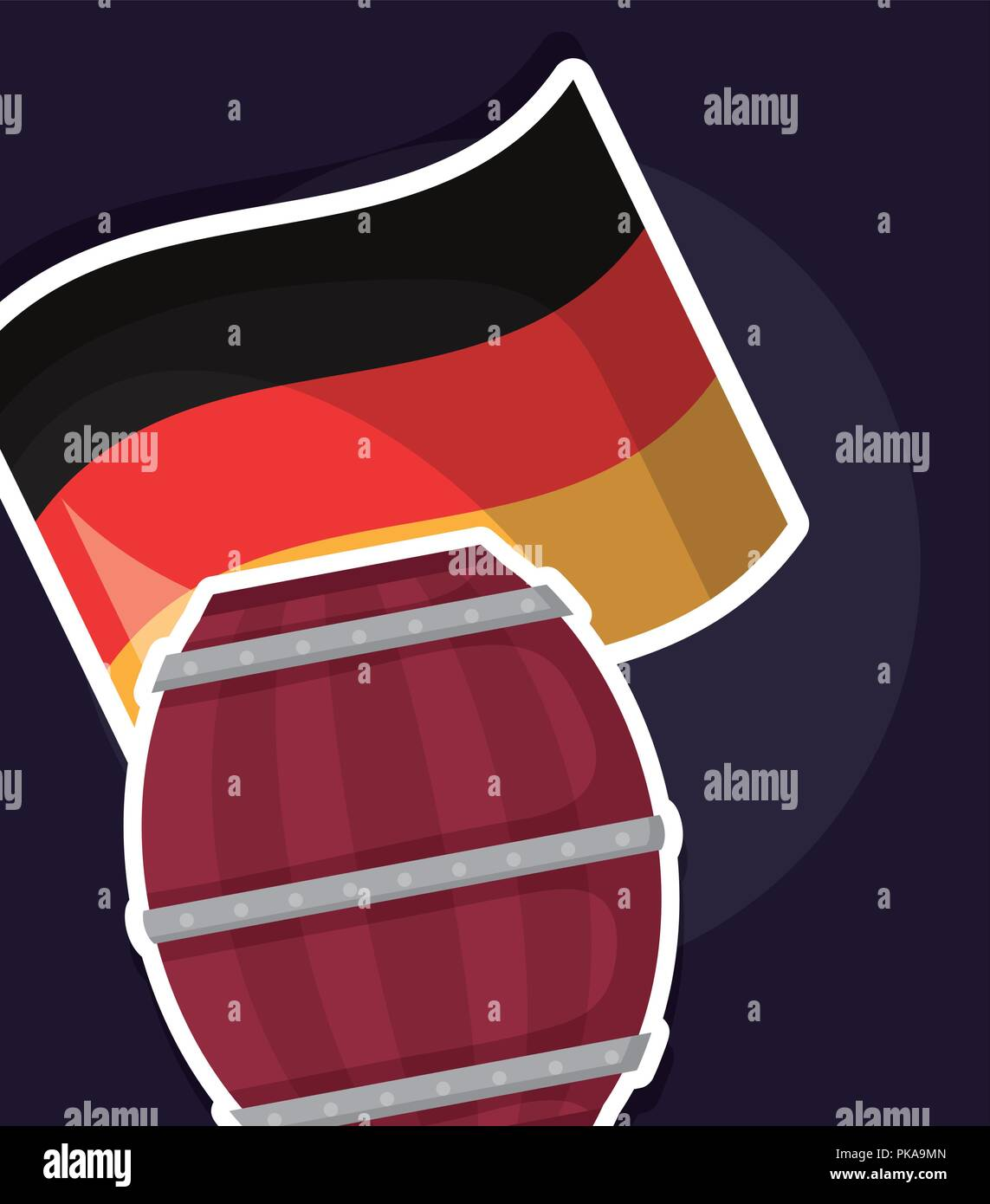 beer barrel wooden with germany flag vector illustration design - Stock Image