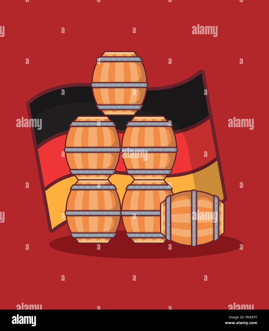 beer barrels wooden with germany flag vector illustration design - Stock Image