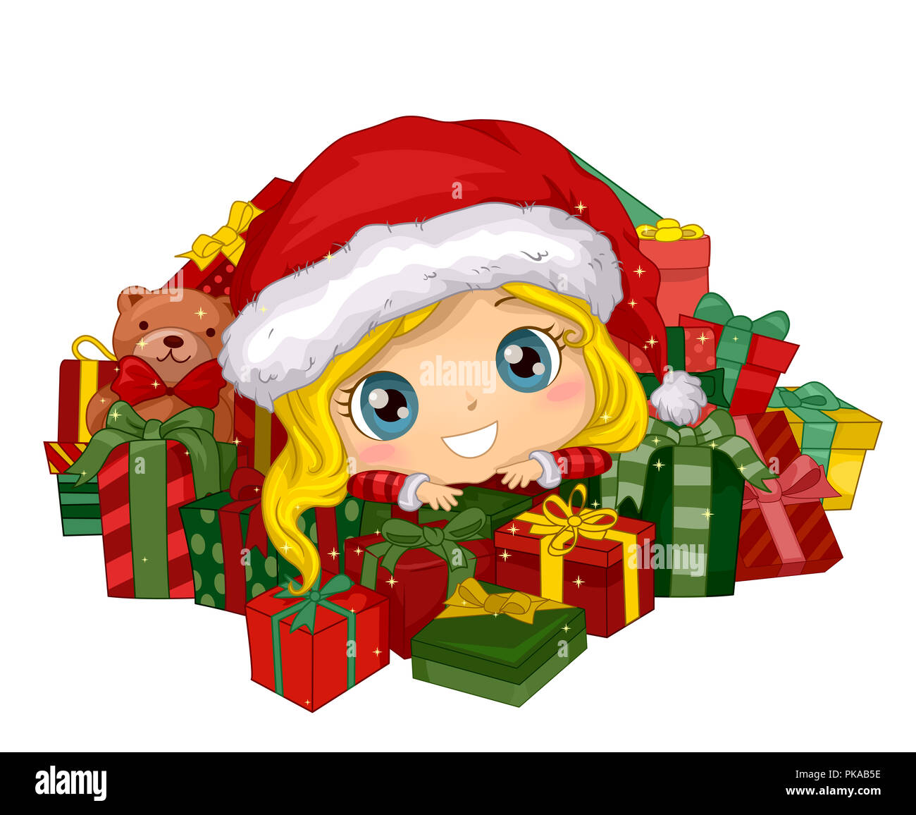 aeb443e9a5519 Illustration of a Kid Girl Wearing Santa Hat Sitting Among a Pile of Gifts  and a Teddy Bear