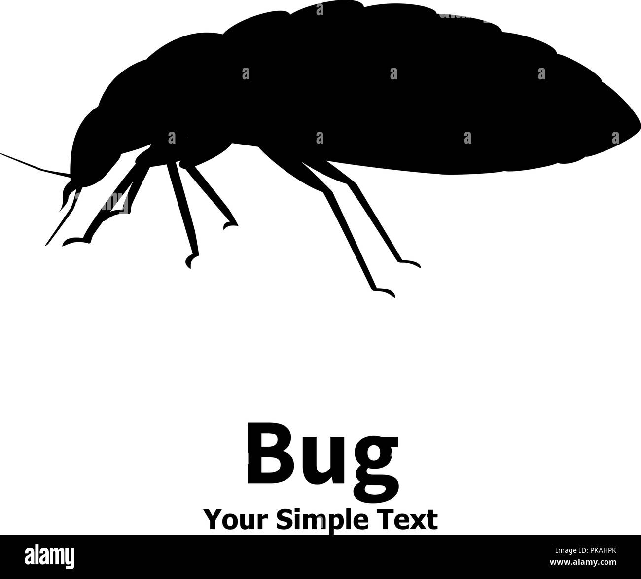 Vector illustration silhouette bed bug - Stock Image