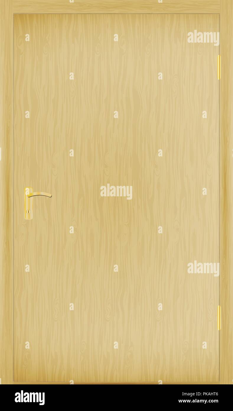 Vector illustration of a closed wooden door - Stock Vector