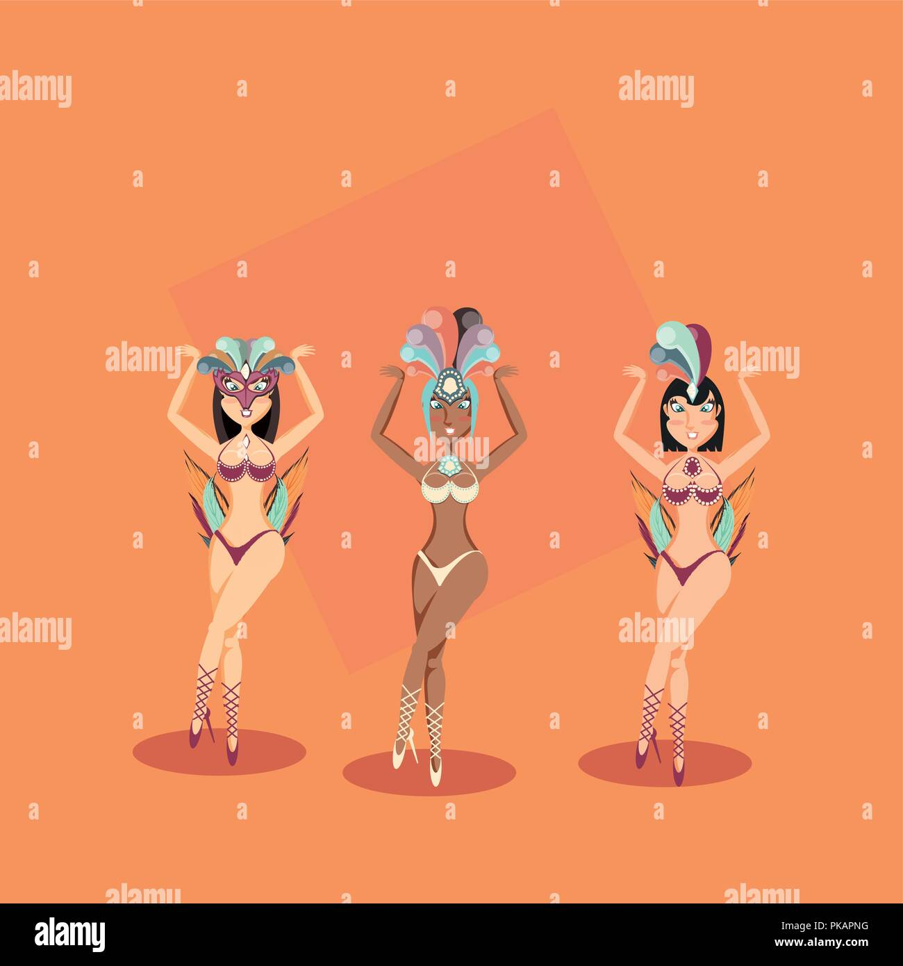three women characters in exotic dress carnival vector illustration - Stock Vector
