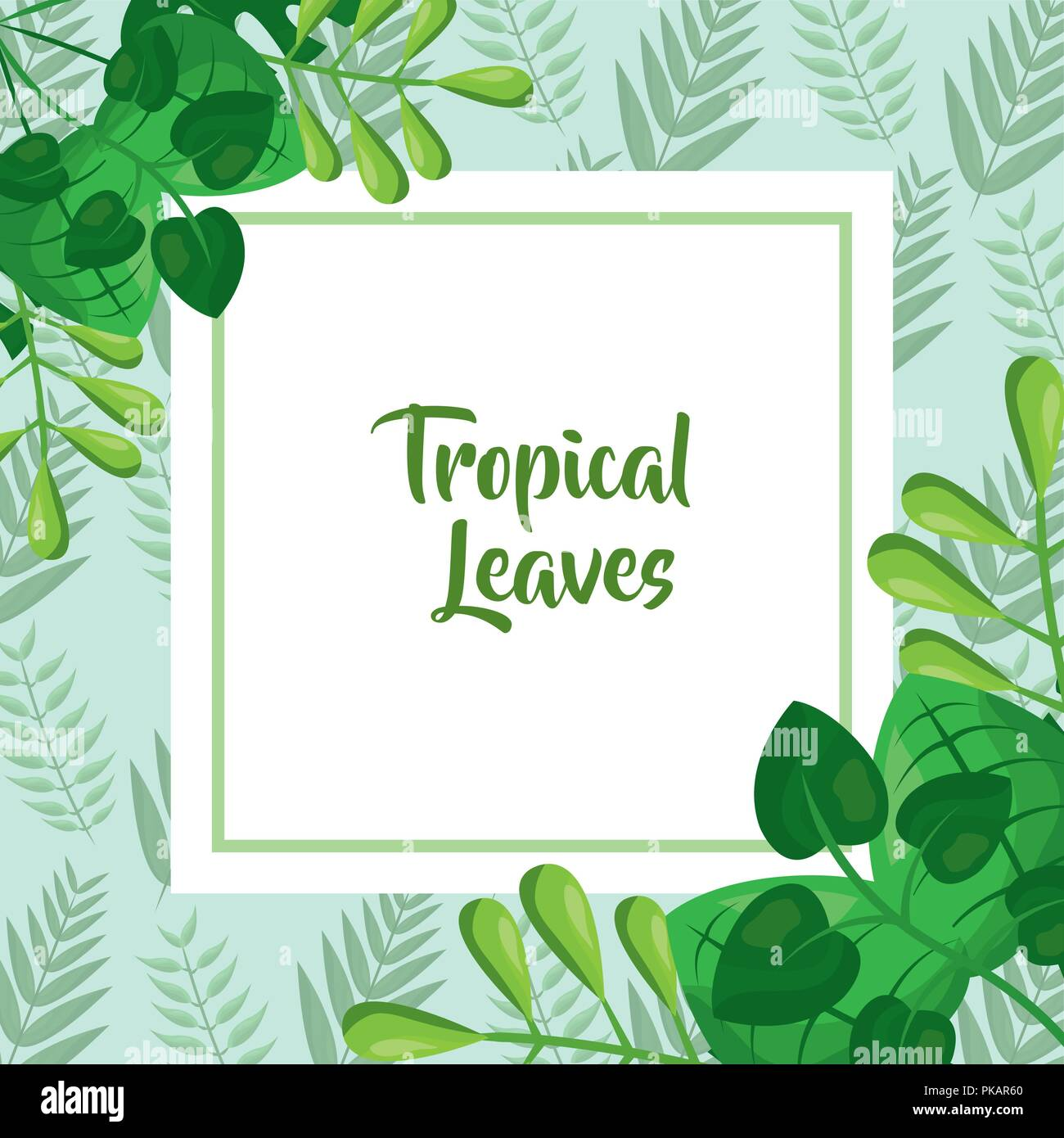 Tropical Leaves Template Fashion Green Design Vector Illustration Stock Vector Image Art Alamy Or plants and lighting effect on white paper background. https www alamy com tropical leaves template fashion green design vector illustration image218440600 html