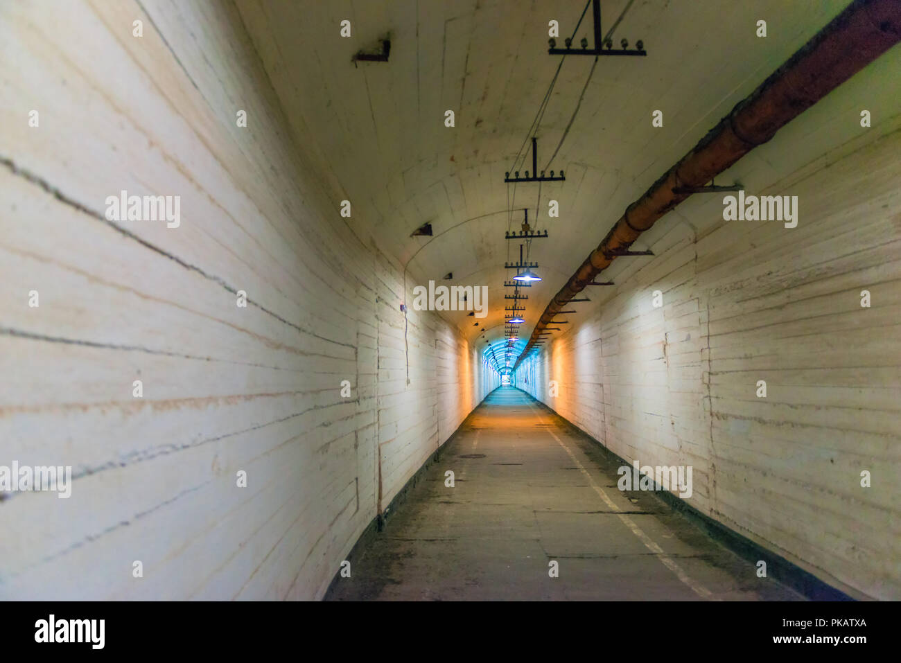 Underground tunnel of fortification destruction, military-historical object, Balaklava, Russia - Stock Image