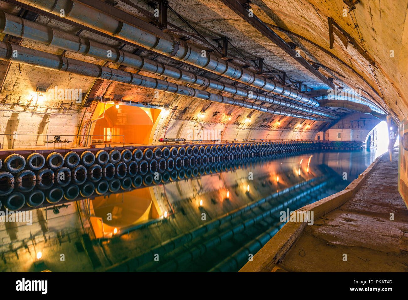 Underground channel for the repair of submarines during the Cold War, Russia, Balaclava - Stock Image