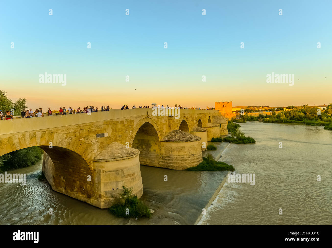 The Roman bridge in Cordoba - Spain Stock Photo