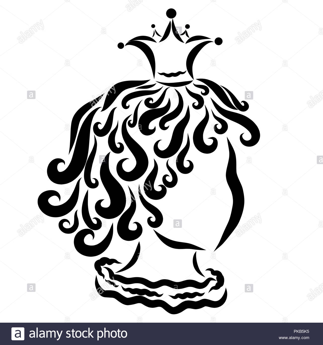 Little curly prince or princess, profile, sketch - Stock Image