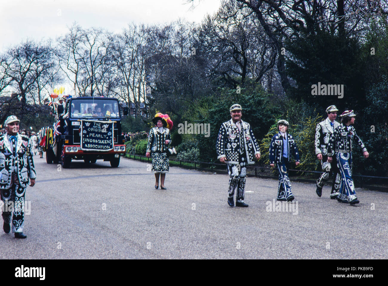 The originall Pearly Kings and queens Association on parade in Battersea Park, London in April 1980 - Stock Image