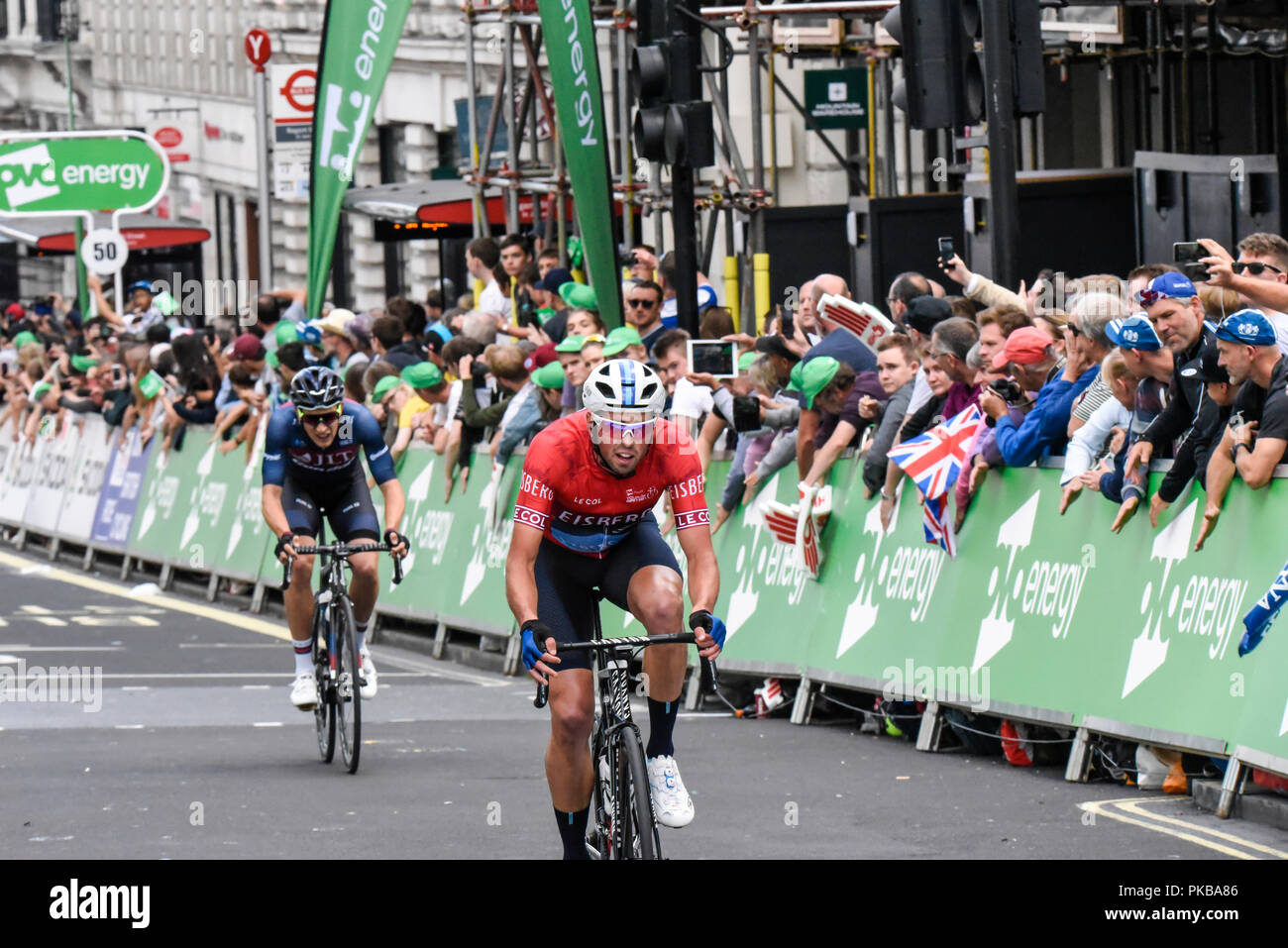 Alex Paton of Canyon Eisberg in red Sprints Jersey at the OVO Energy Tour of Britain cycle race, Stage 8, London, UK. - Stock Image