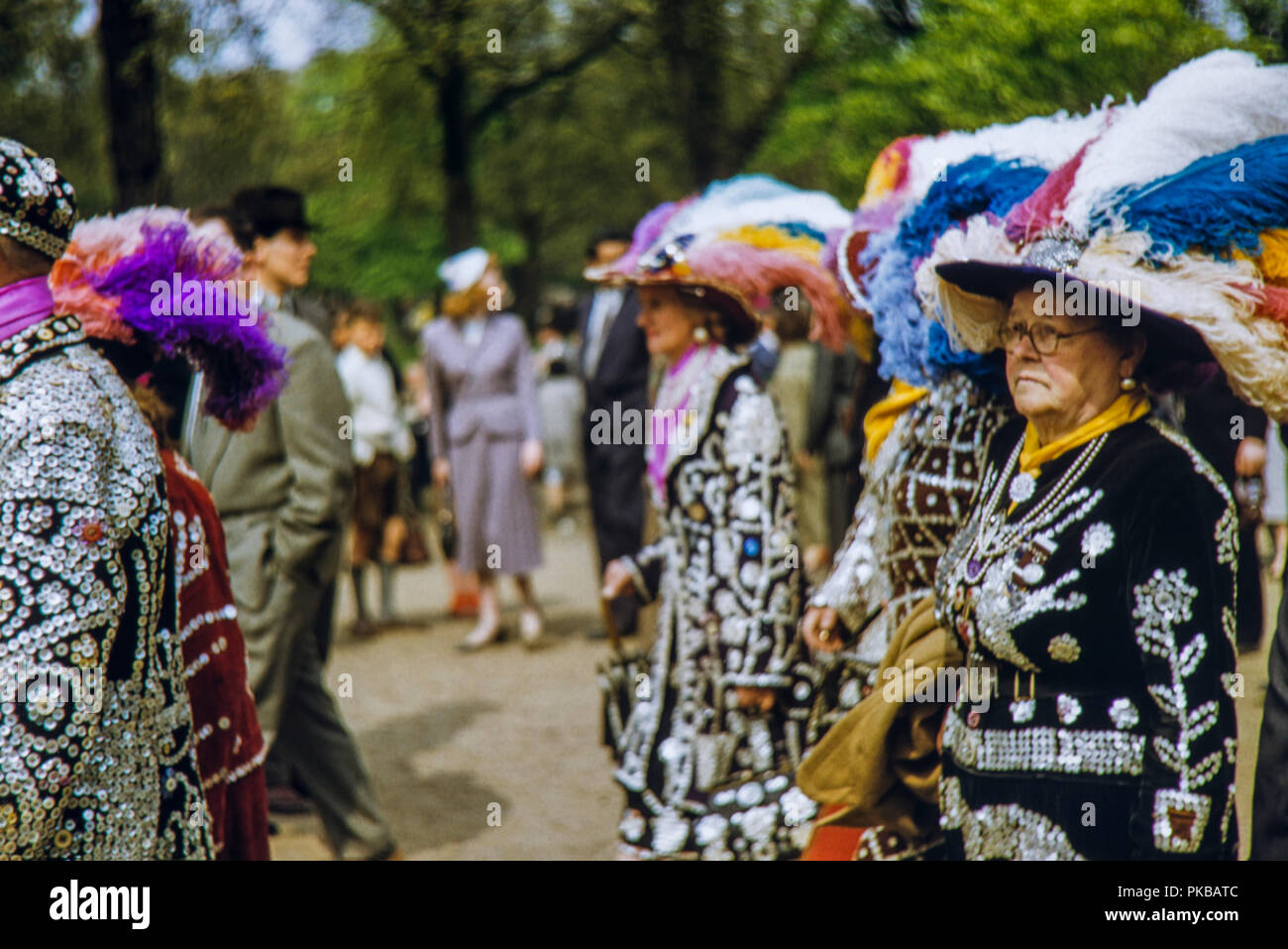 Pearly Kings and Queens in Hyde Park, London during the 1950s - Stock Image