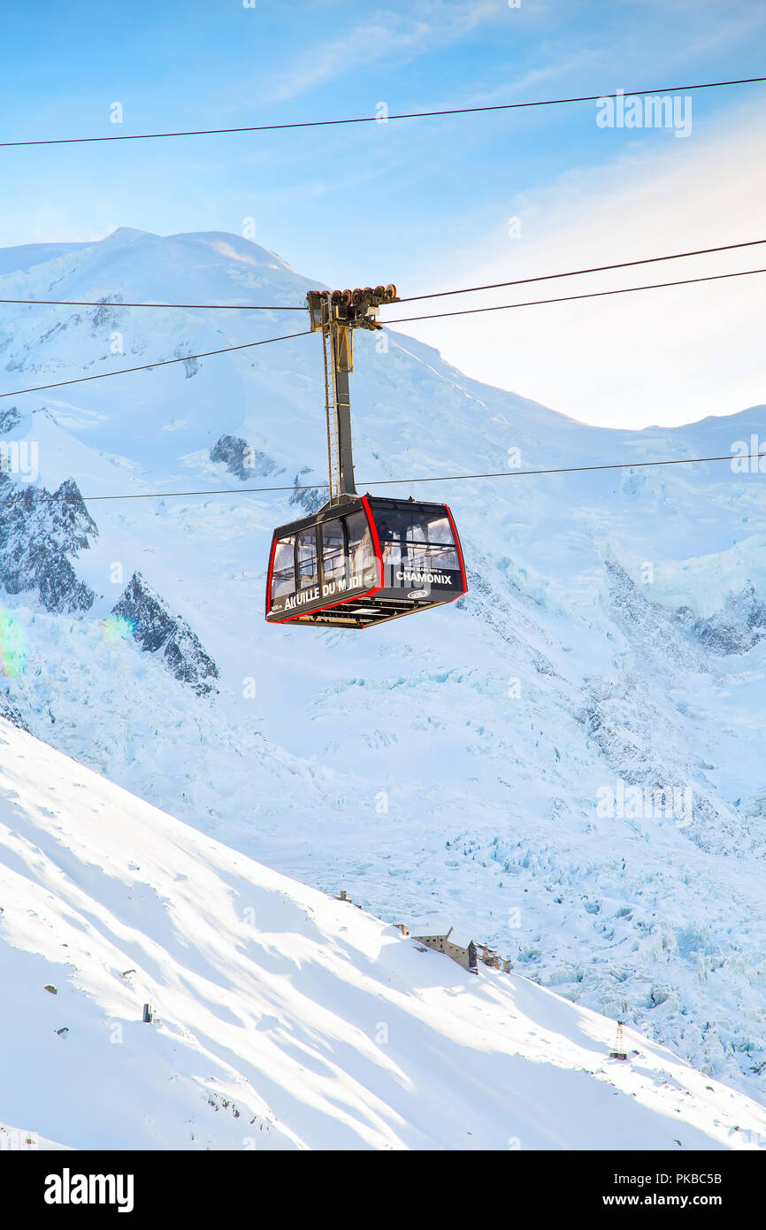 Chamonix, France - January , 28, 2015: Cable Car Telepherique Auguille du Midi and snow mountains - Stock Image