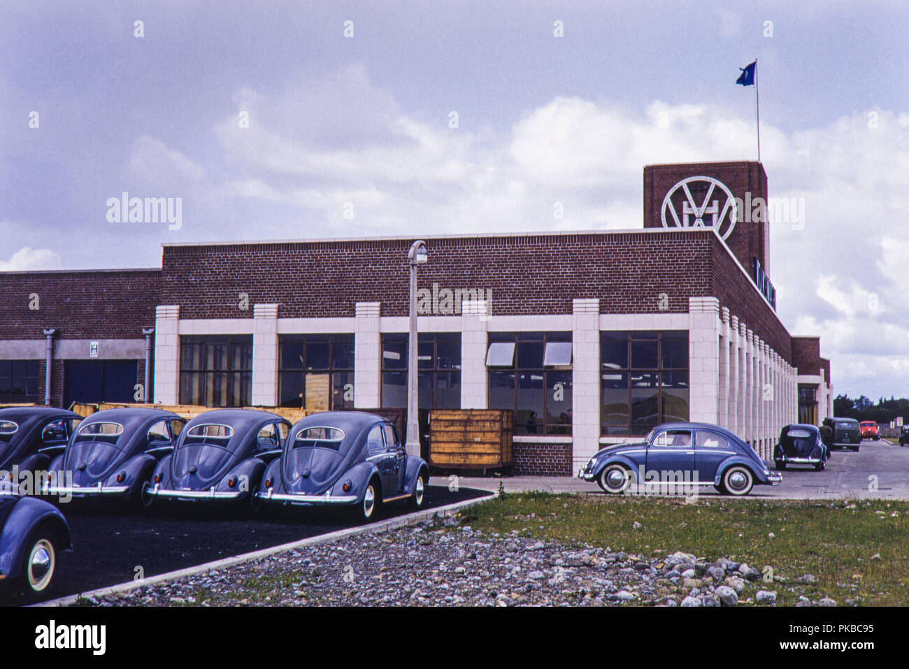 Volkswagen Beetle assembly plant Naas Road, Dublin, Republic of Ireland. Image taken on 14th June 1956 - Stock Image