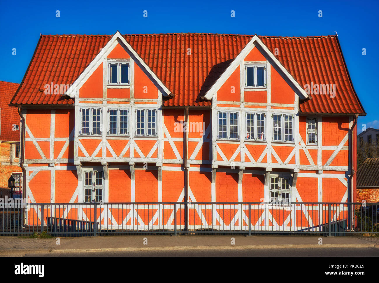 Scenic of the Old Town architecture in Wismar, Mecklenburg Vorpommern, Germany - Stock Image