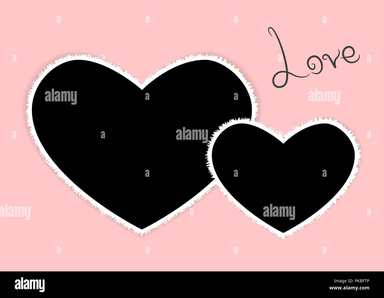 Template Of Two Heart Photo Frames Love For Wedding Vector