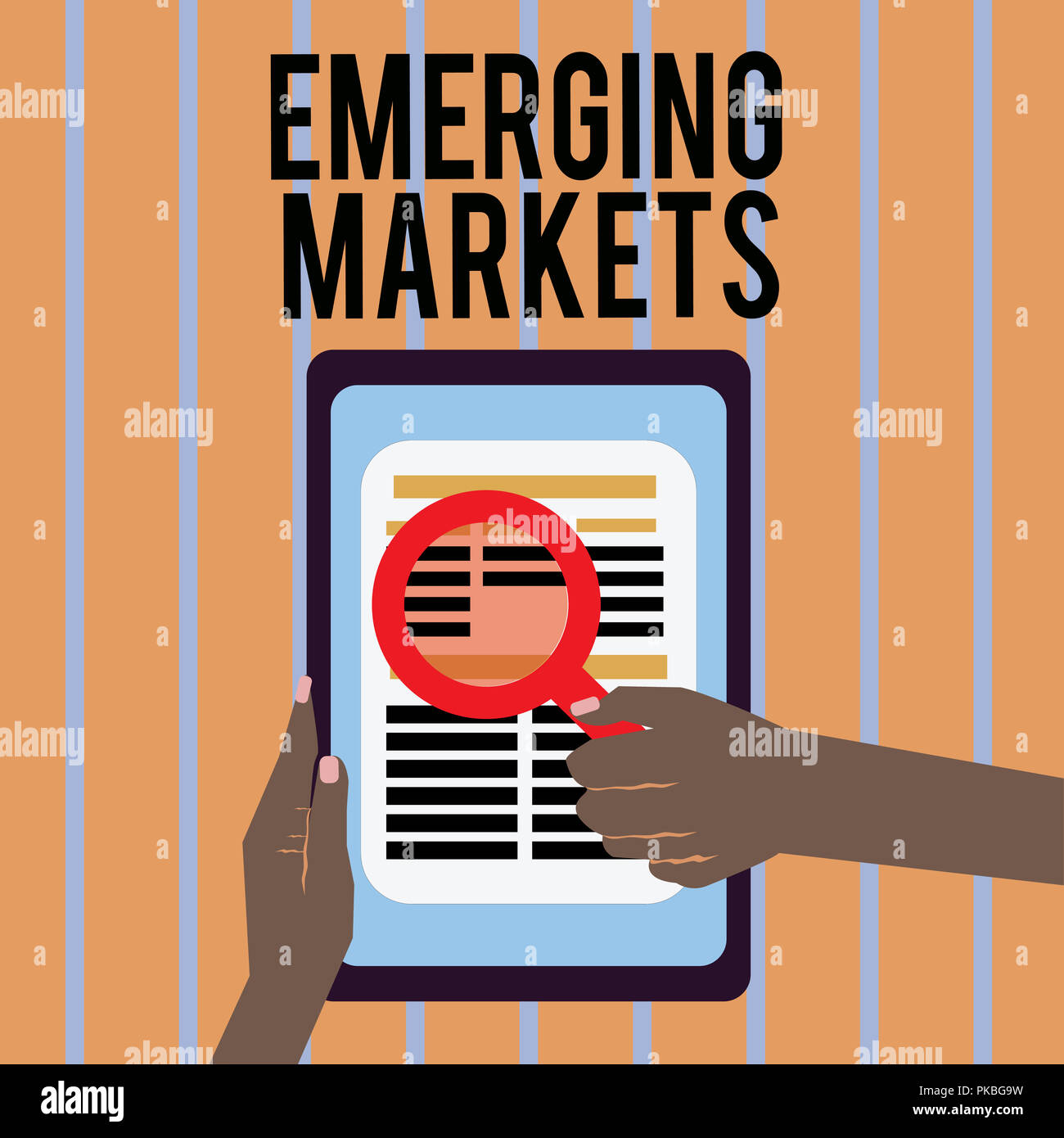 Conceptual hand writing showing Emerging Markets. Business photo text country that has some characteristics of developed stores. Stock Photo