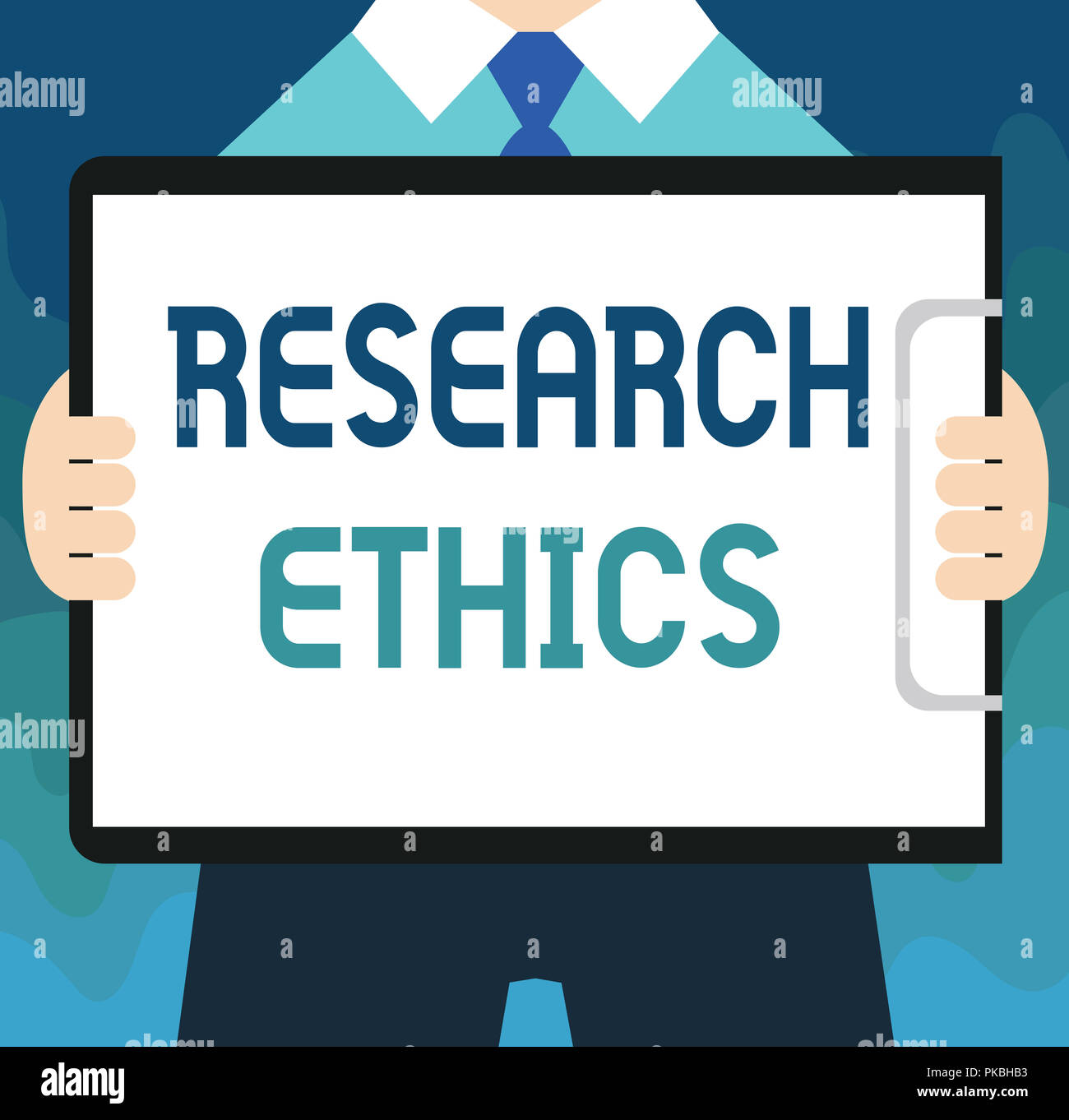 Handwriting text Research Ethics. Concept meaning interested in the analysis of ethical issues that raised . - Stock Image