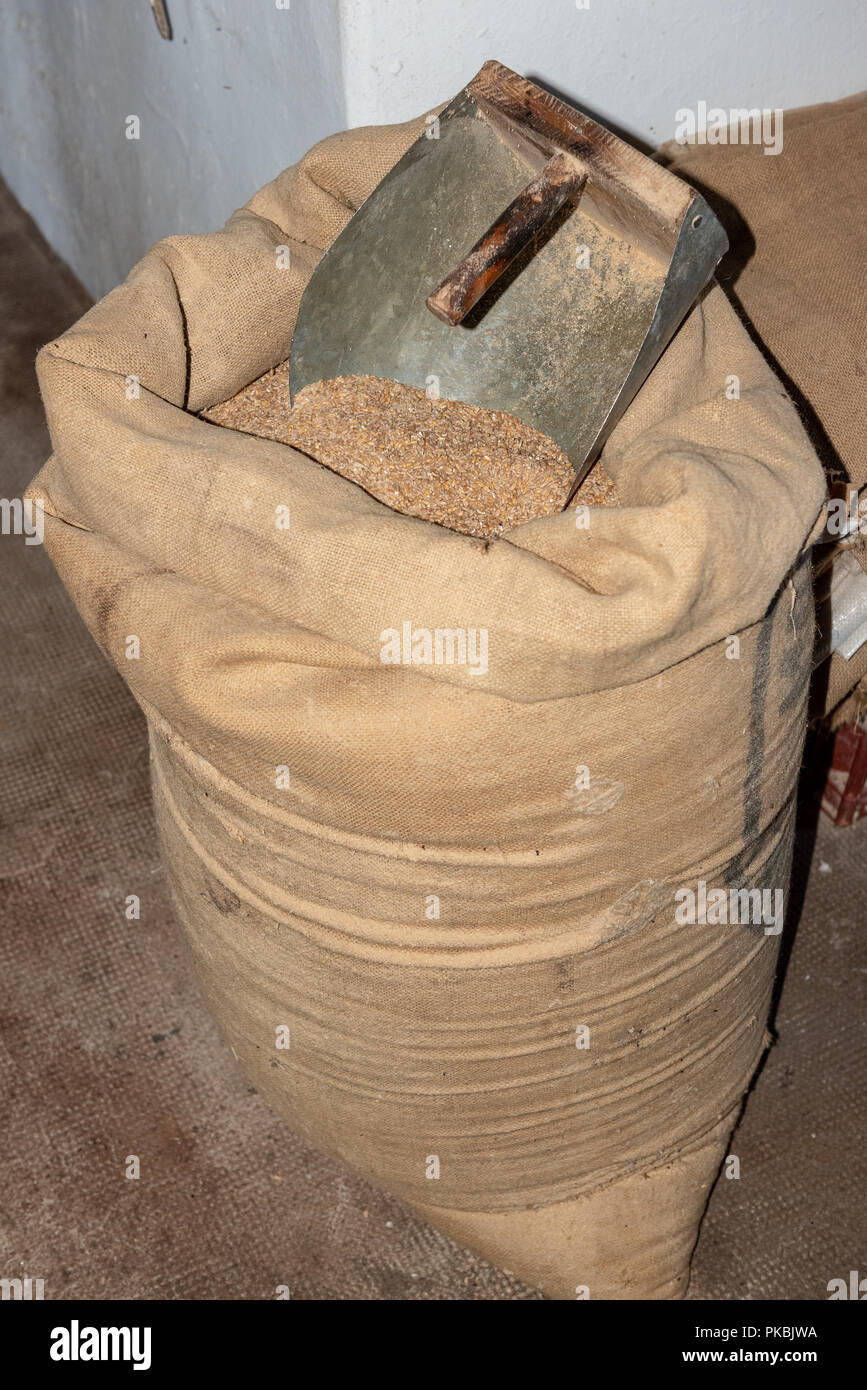 Sack of wheat in a mill - Stock Image
