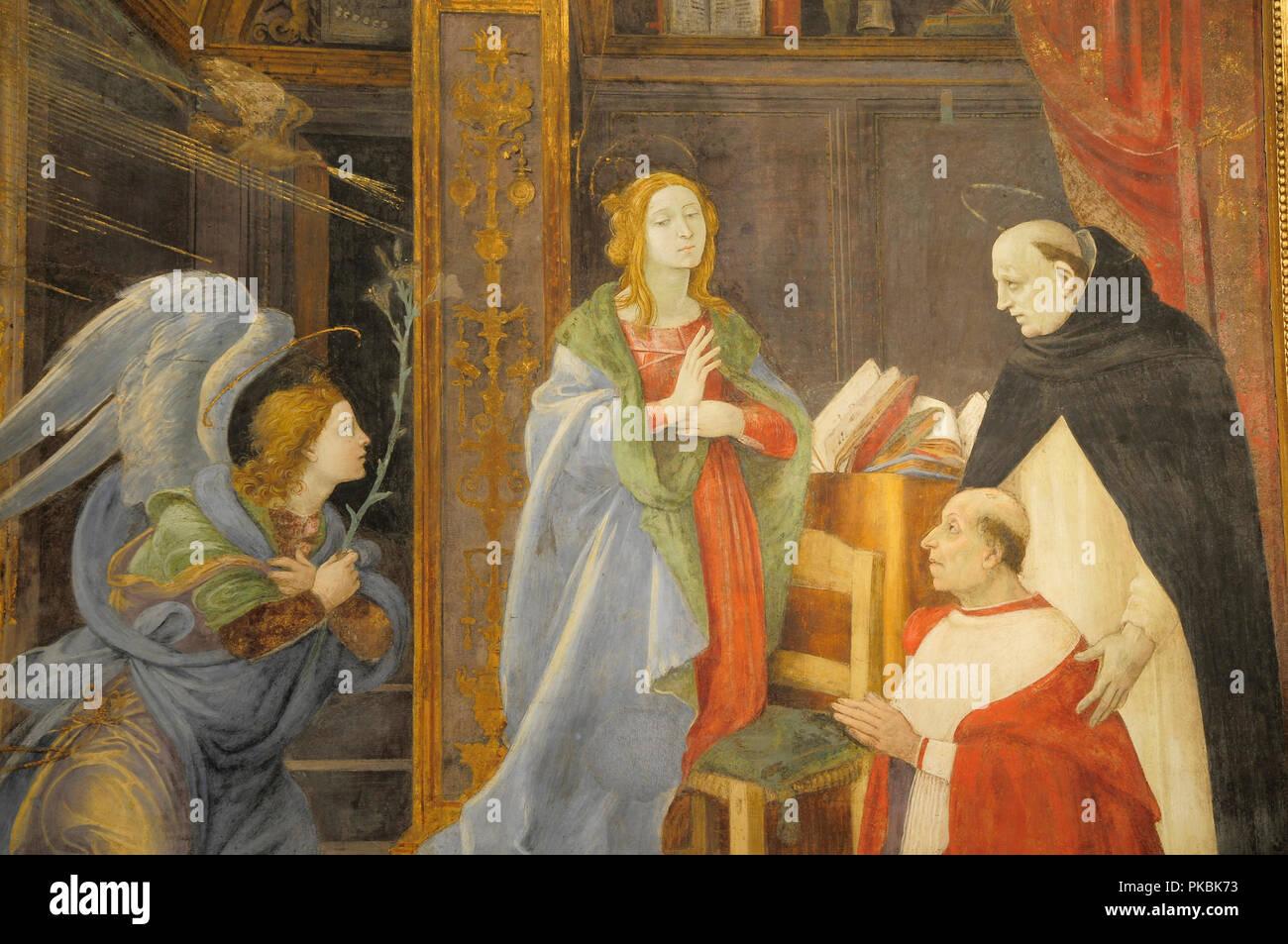 Italy, Lazio, Rome, Centro Storico, church of Santa Maria Sopra Minerva, Filippino Lippi's fresco of the Assumption of the Virgin in the Capella Carafa. Stock Photo