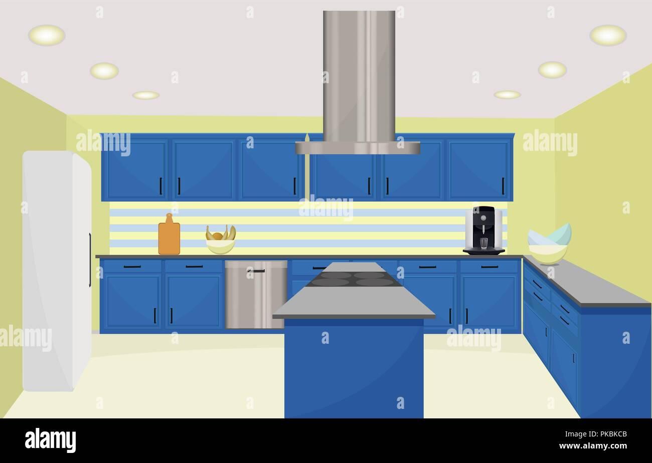 Kitchen Interior Design Vector Illustration Blue Furniture In Olive