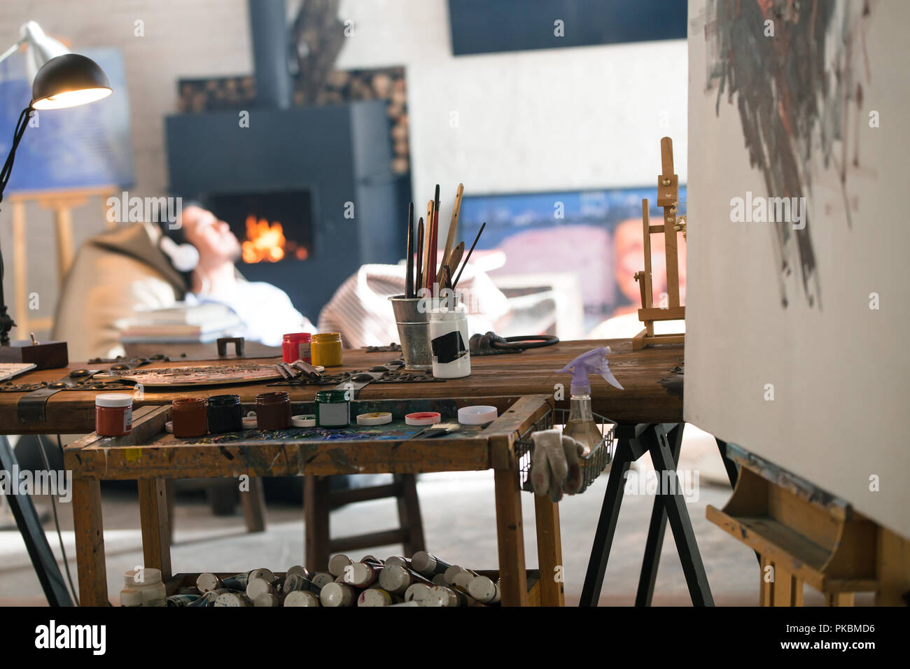 Male Artistu0027s Studio   Stock Image