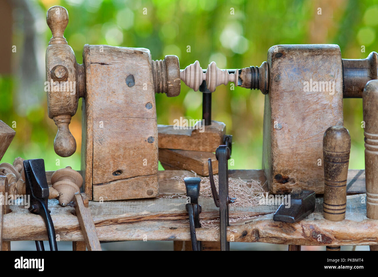Italy, Lombardy, Historical Reenactment, Lathe Wooden Stringed, Construction of Spins in Wood - Stock Image