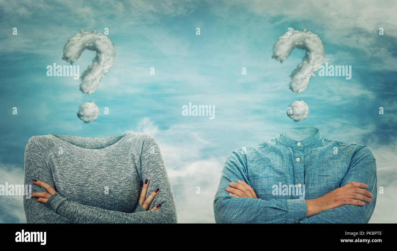 Surreal image as woman and man with crossed hands and invisible face have question mark cloud instead of head. Social mask for hiding identity. Incogn - Stock Image