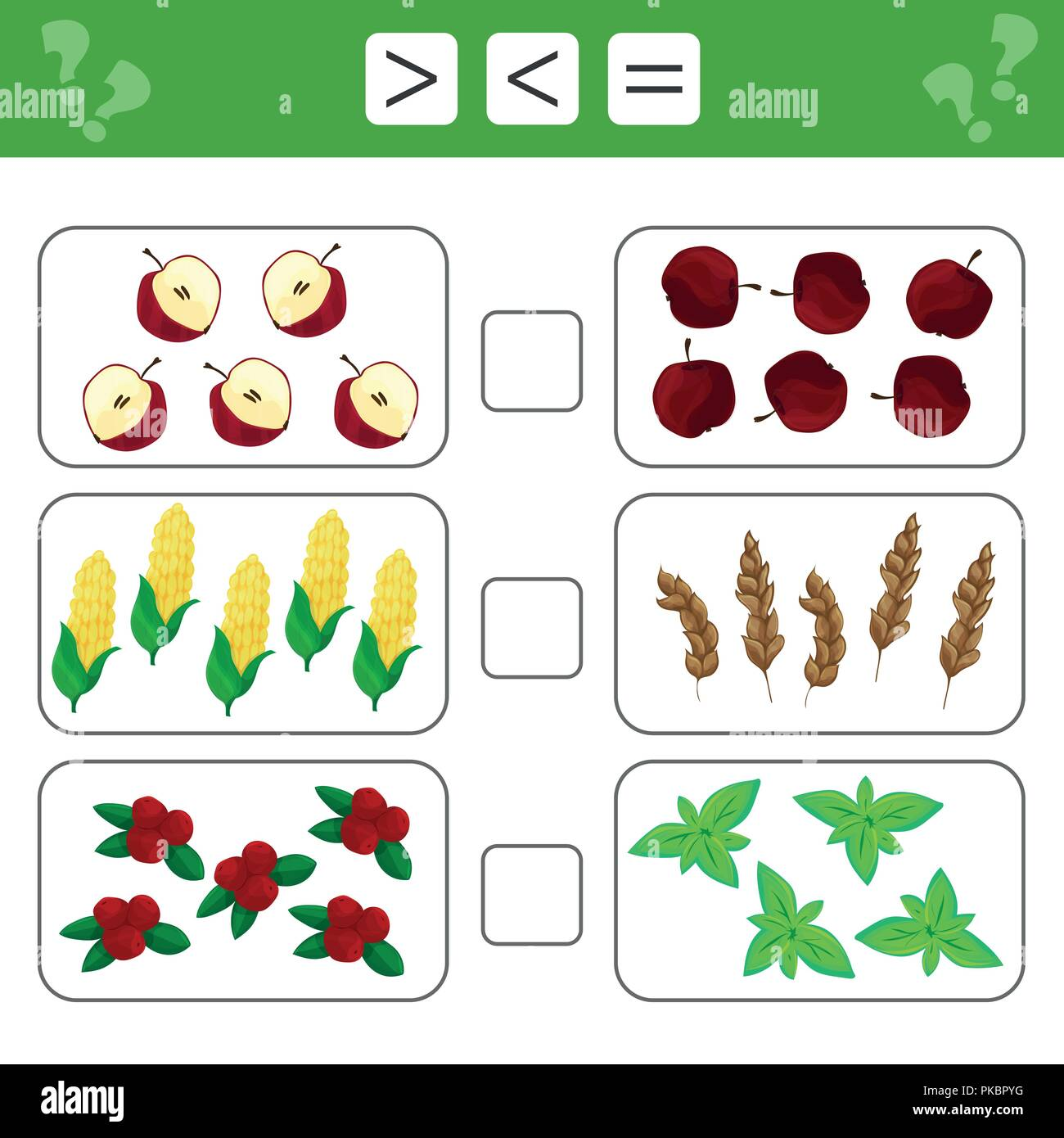 Learning mathematics, numbers - choose more, less or equal. Tasks for children - Stock Image