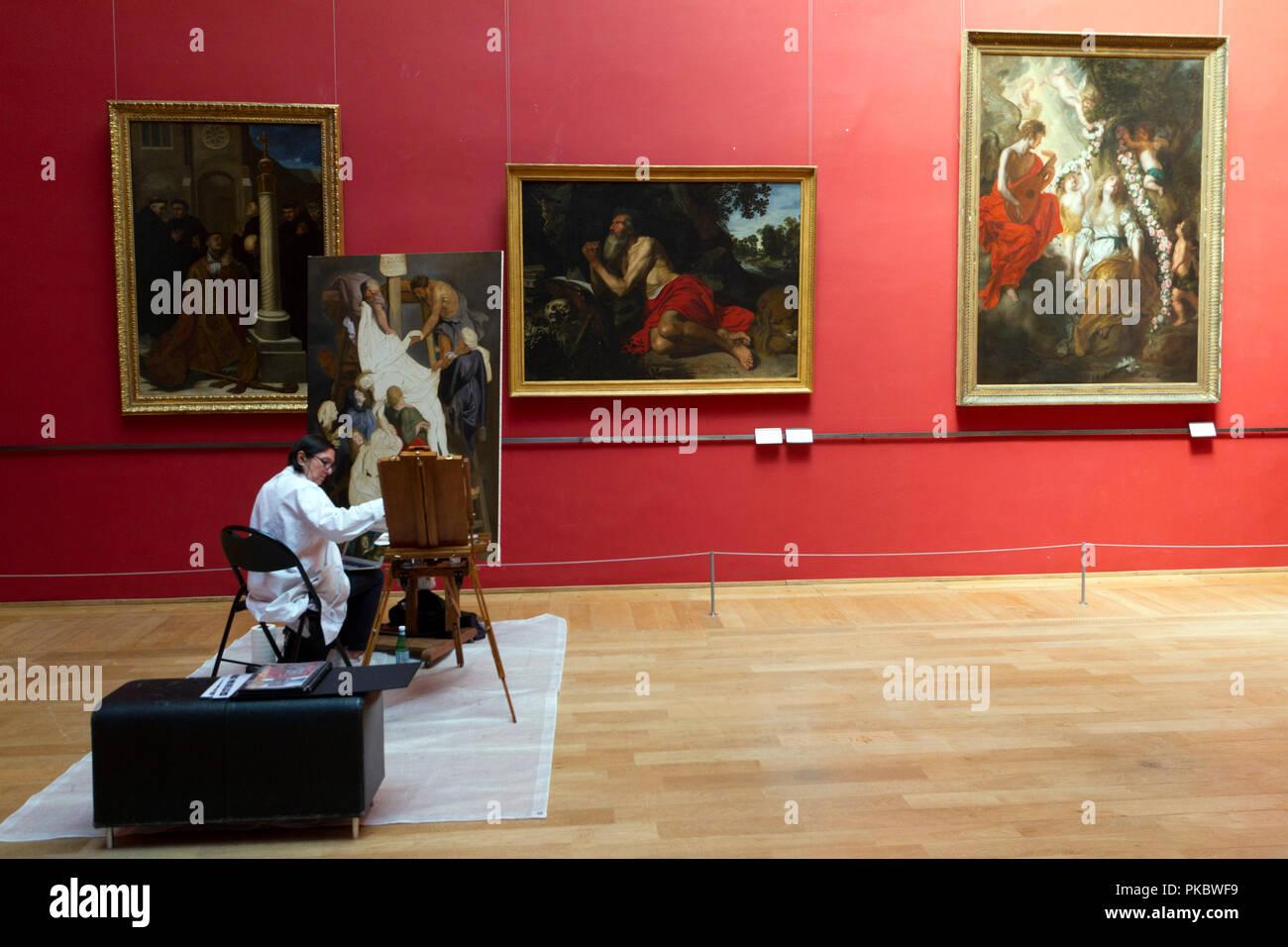 Copie de « La Descente de Croix » de Rubens, réalisée au Palais des Beaux-Arts de Lille - Stock Image