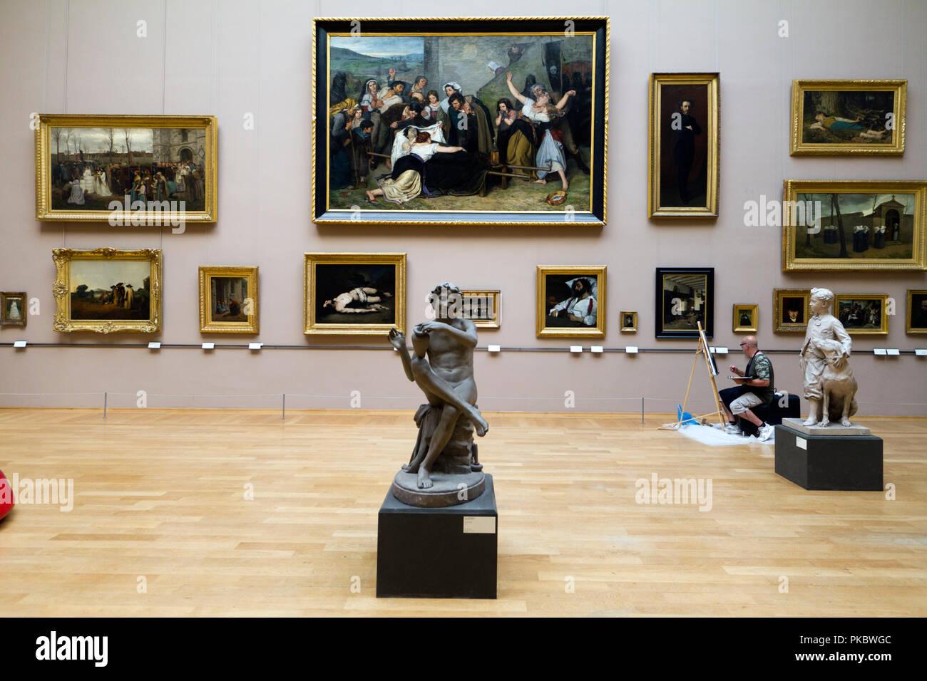 Un copiste au Palais des Beaux-Arts de Lille - Stock Image
