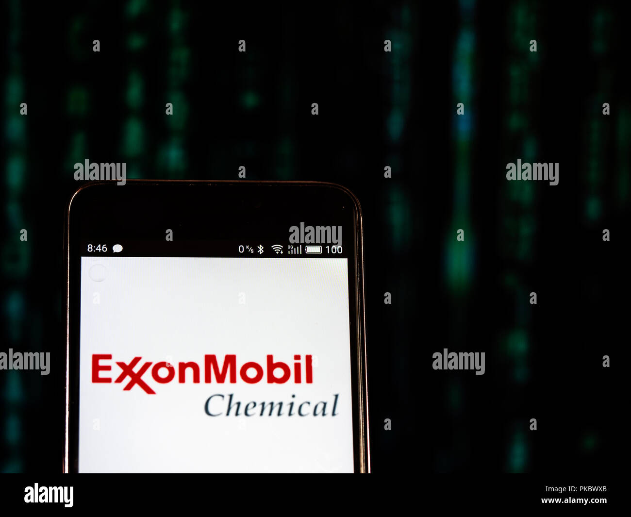 Exxon Mobil logo seen displayed on smart phone - Stock Image