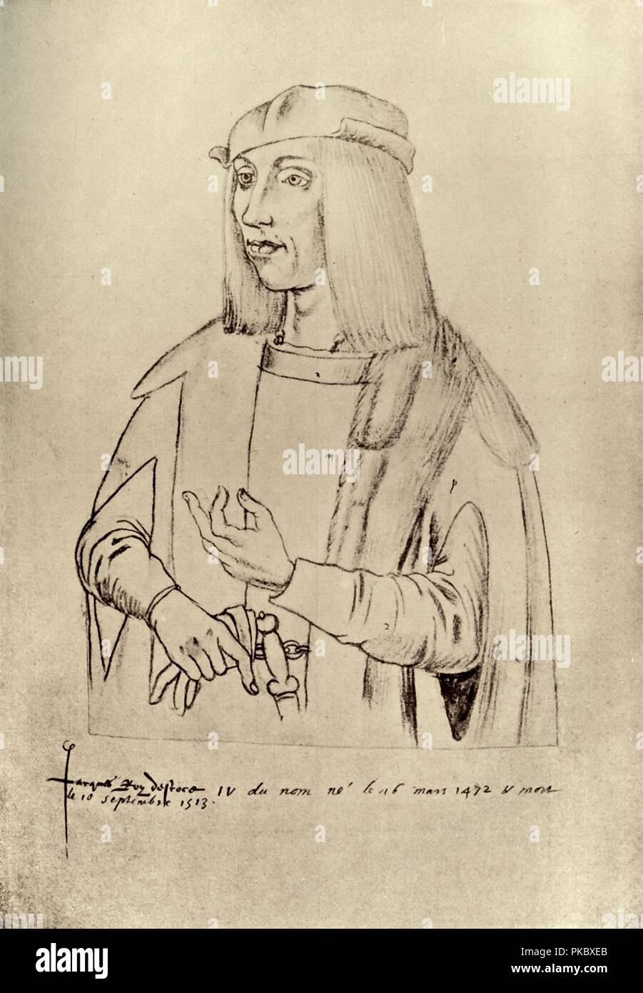 'James IV, King of Scotland', (1909). King James IV (1473-1513). 'From the drawing attributed to Jacques le Boucq of Artois in the Library of the town of Arras'. Illustration from Historical Portraits . [The Clarendon Press, Oxford, 1909] - Stock Image