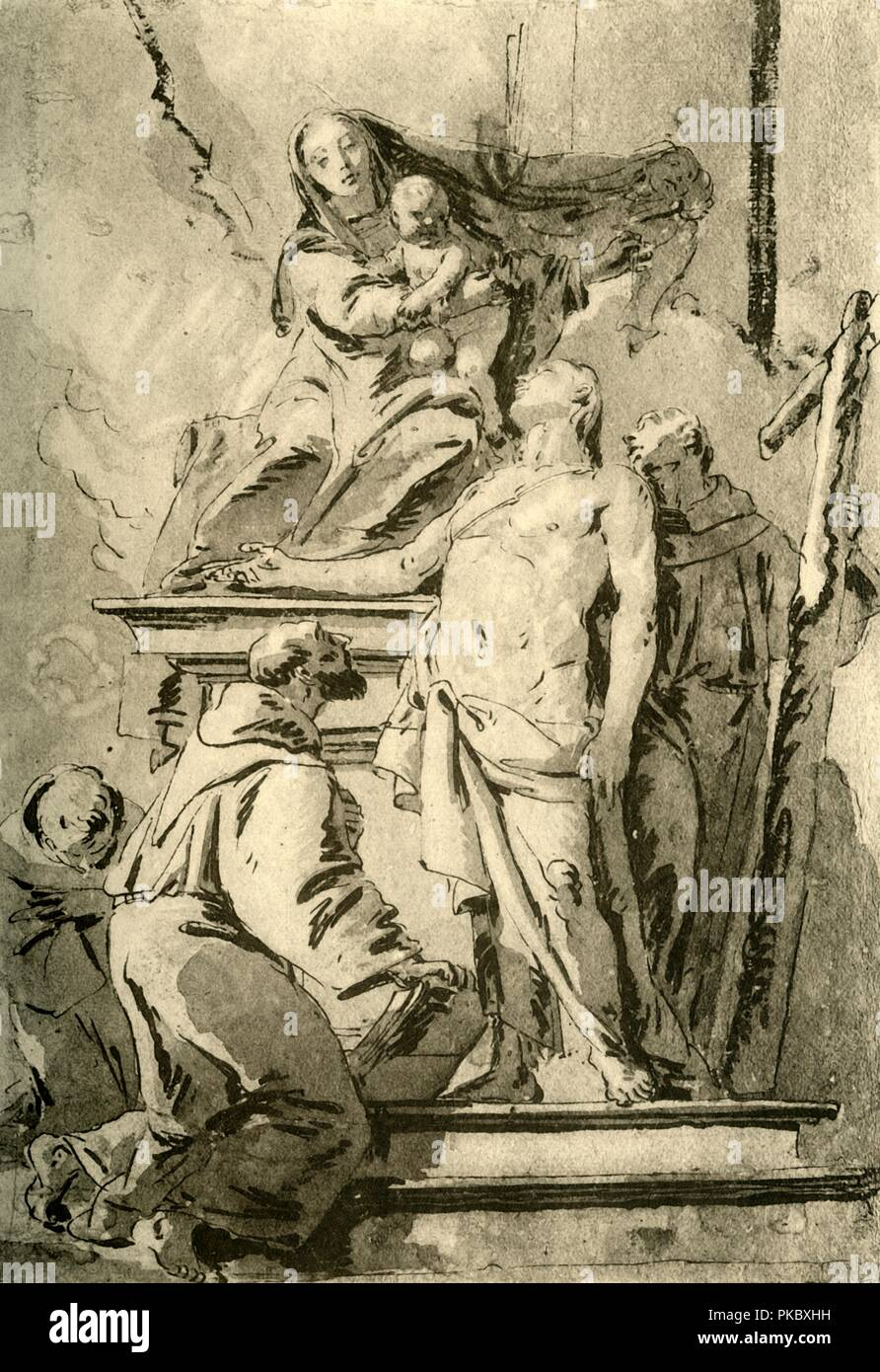 'Madonna enthroned with Saints', mid 18th century, (1928). 'Madonna enthroned with S. Sebastian and three Franciscan Saints', pen with wash on paper. At one time known to have been in the collection of the Kupferstichkabinett, Berlin, Germany. Italian Venetian painter and printmaker Giovanni Battista Tiepolo (1696-1770), worked not only in Italy, but also in Germany and Spain. He was commissioned to carry out frescoes in churches and palaces, and was elected President of the Academy of Padua. As well as his large-scale majestic works, he also produced etchings and oil paintings, and is widely  - Stock Image