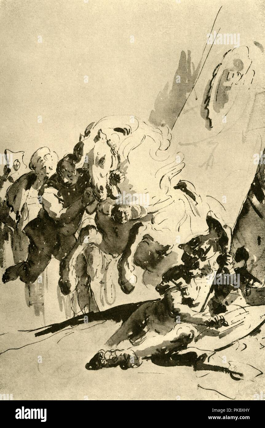 'Alexander and Bucephalus', mid 18th century, (1928). Pen with wash on paper. At one time known to have been in the collection of the Horne Foundation, Florence, Italy. Italian Venetian painter and printmaker Giovanni Battista Tiepolo (1696-1770), worked not only in Italy, but also in Germany and Spain. He was commissioned to carry out frescoes in churches and palaces, and was elected President of the Academy of Padua. As well as his large-scale majestic works, he also produced etchings and oil paintings, and is widely regarded as one of the most important artists of the period. Illustration f Stock Photo